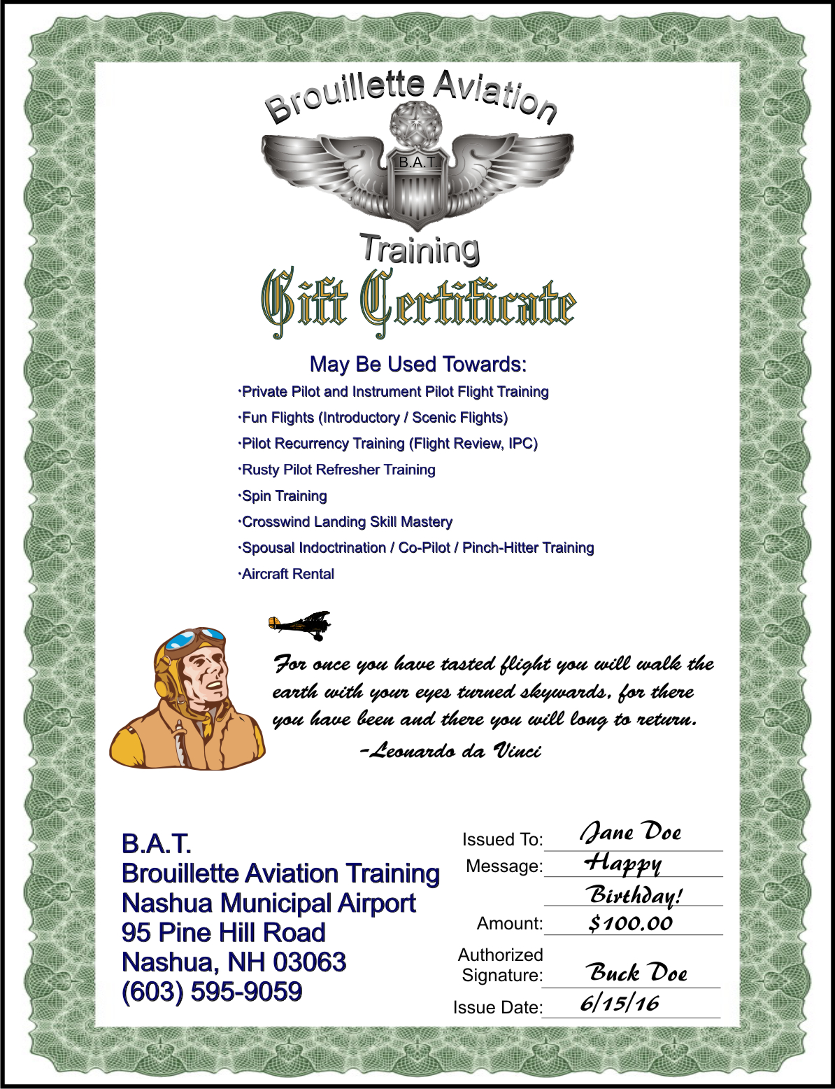 Gift certificates bat gift certificate sample yadclub Gallery